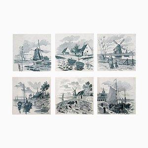 Niederländische glasierte niederländische Keramikfliesen von Le Glaive, 1930er, 6er Set