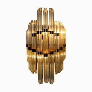 Large Murano Glass and Gilt Brass Sconce in the Style of Venini, Italy
