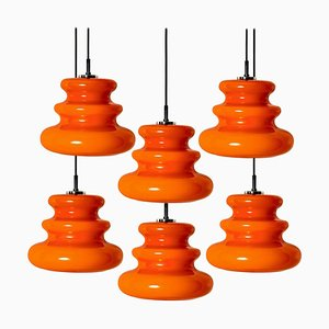 Orange Pendant Light from Peill & Putzler, 1970s