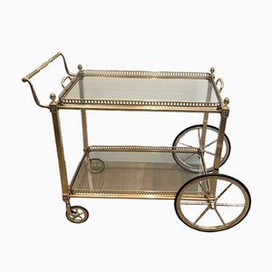 French Silver & Brass Trolley from Maison Bagués, 1940s