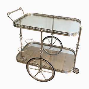 Neoclassical Style French Silver & Brass Trolley, 1940s