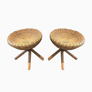 French Rattan Stools, 1970s, Set of 2