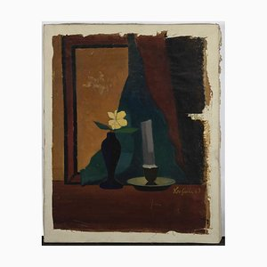 Leo Guida, natura morta, olio su tela originale, anni '60