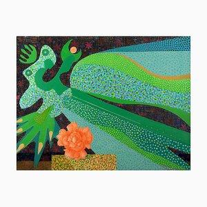 Leo Guida, Nocturne mit Rose, Original Ölfarbe auf Leinwand, 1985