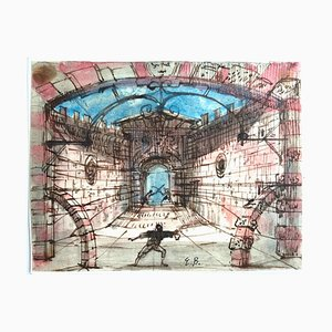 Eugene Berman, Scenography, Original Watercolor and China Ink, Mid-20th Century