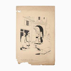 Henri-Paul Pecqueriaux, Genderbild, Original China Ink, 1960er
