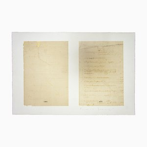 Franco Sarnari, Manuscript Fragment, Vintage Lithograph, 1950s