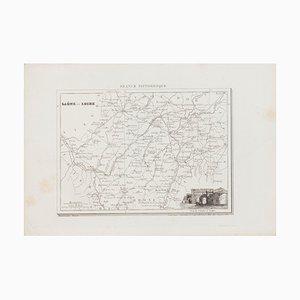 Unknown, Salon Et Loire Map, Original Lithograph, 19th Century