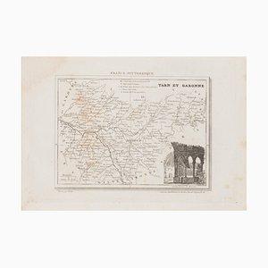 Unknown, Tarn Et Garonne Map, Original Lithograph, 19th Century