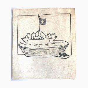 Unbekanntes, Essen aus der Schweiz, Original Federzeichnung von Giuseppe Scalarini, 1918