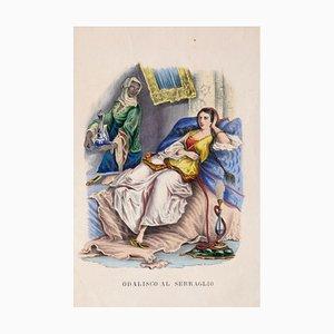 Unbekannt, Odalisque at the Menagerie, Original Aquarell Lithographie, 1848