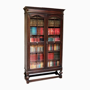 Tall Oak Glazed Bookcase