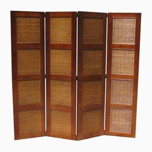 Biombo vintage de cerezo y bambú de 4 partes
