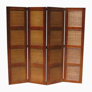 Vintage Cherry & Bamboo 4-Part Screen