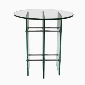 Glass and Nickel Side Table, 1970s