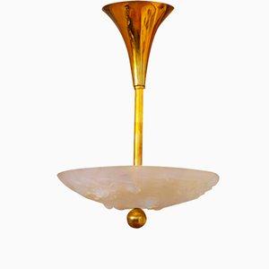 Lámpara colgante francesa Art Déco vintage opalescente