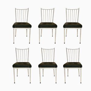 White Lacquered Dining Chairs 1950s, Set of 6