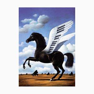 Rafal Olbinski, Black Horse, 2020