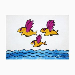 Bohdan Butenko, Drawing, Flying Fish, 1980