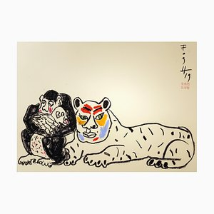 Andrzej Fogtt, Monkey with a Baby - Monkey and a Tiger, 2019