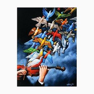 Rafal Olbinski, Tales of Love (Violin and Birds), 2019