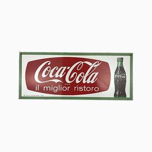 Bedrucktes italienisches Coca-Cola Schild aus Metall, 1960er