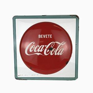 Cartel de Coca-Cola italiano de metal esmaltado, años 60