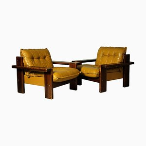 Leather Club Chairs, Finland, 1970s, Set of 2