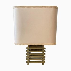 Mid-Century Modern Italian Brass Table Lamp with Squared Lampshade, 1970s