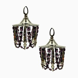 Small Cut Glass Ceiling Lights with Amethyst Glass, Set of 2