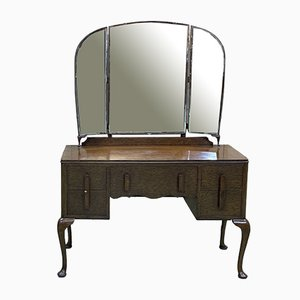 English Chippendale Oak Dressing Table, 1930s