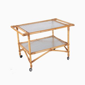 Vintage Bamboo Trolley and Serving Trolley, 1960s