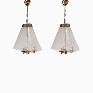 Blown Glass Bubbles and Brass Pendant Lamps from Venini , Italy, 1950s, Set of 2