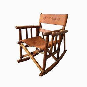 Rocking Chair pour Enfant Mid-Century en Cuir, Costa-Rica