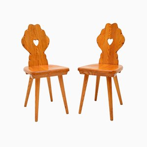 Solid Elm Side Chairs, 1950s, Set of 2