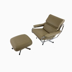 Swivel Armchair & Footstool by Tim Bates for Pieff, Set of 2