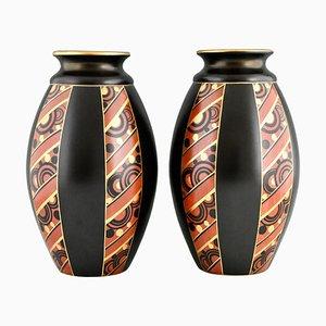 Art Deco Vases with Geometric Pattern by Saint Ghislain, Set of 2