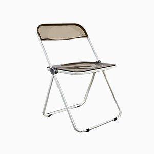 White Frame Smoke Plia Folding Chair by Giancarlo Piretti for Castelli / Anonima Castelli, 1960s