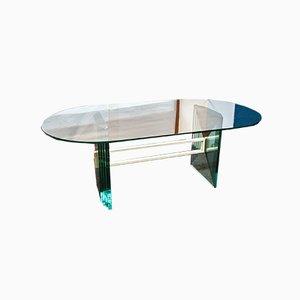 Kristallglas Tisch mit Lackiertem Messing, Italien, 1970er