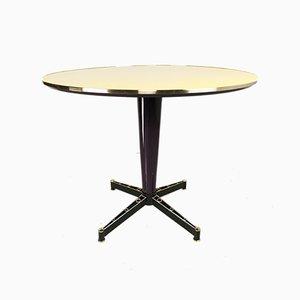 Gelb Lackierter Runder Tisch mit Messingkante, 1950er