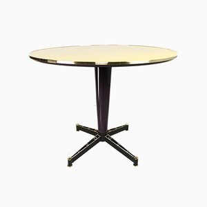 Yellow Lacquered Round Table with Brass Edge, 1950s