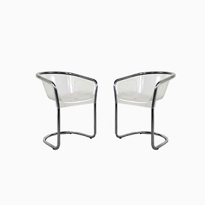 Italian Perspex Chairs, 1970s, Set of 2
