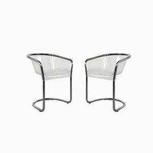Italienische Plexiglas Stühle, 1970er, 2er Set