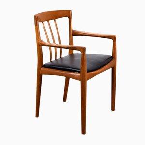 Teak & Leder Armlehnstuhl von HW Klein für Bramin, 1960er