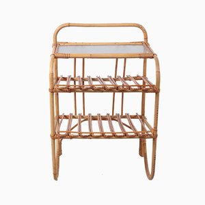 Bamboo Side Table with Storage Racks