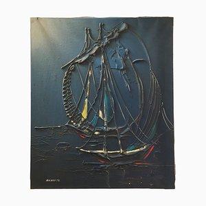 Vintage Acrylic Ricard 78 Nautical Painting, Ship Maritime Art, 1970s