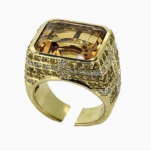 Handgemachter Ring aus 18 Karat Gelbgold, Diamant & Gelbem Saphirglas