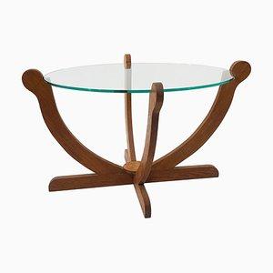 English Art Deco Handmade Oak & Glass Cocktail Table, 1930s