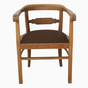 Vintage Art Deco Oak & Leather Armchair, 1920s
