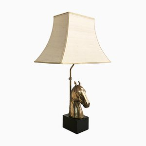 Mid-Century Hollywood Regency Brass Horse Chinoiserie Table Lamp, 1970s